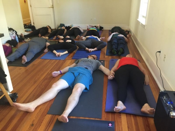 Wedding morning Yoga I taught for a lovely wedding party in Florida