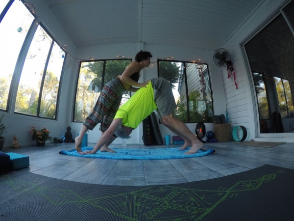 Downward facing dog assist during a private lesson <3