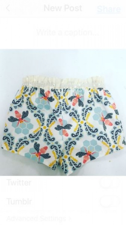 Pair of shorts made by my 6th grader student - she learnt how to cut the pattern, sew the shorts and elastic unto the waistband