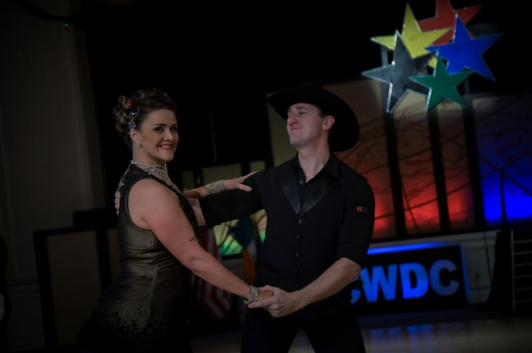 My wife and I competing out Two Step at the World Championships.