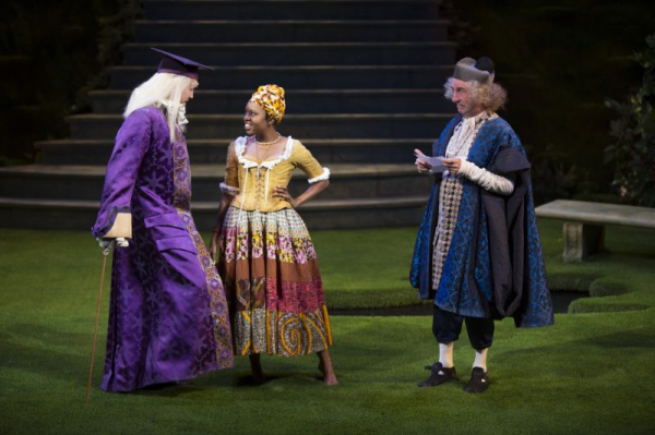 Jacquenetta in Love's Labor's Lost at the Old Globe. Pictured: Stephen Spinella and Patrick Kerr.