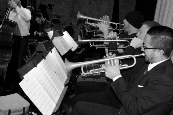 With Arturo O'Farrill Afro-Latin Jazz Orchestra trumpet section @ Pregones Center in Bronx, NY