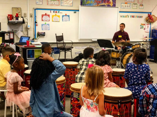 """One of my many """"Drum Day"""" classes at local elementary schools. So much fun!"""