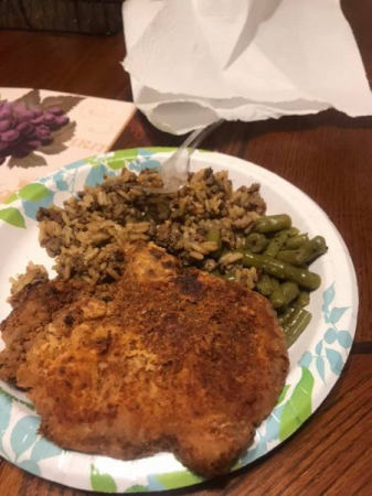 Delicious juicy fried chop with dirty rice and green beans! Can't beat that! Let's learn this easy recipe!