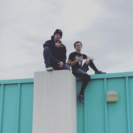 Me with my parkour best friend, who introduced me to the sport over two years ago.