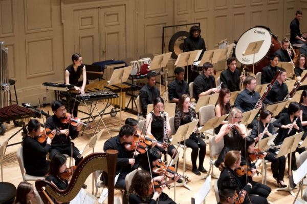 Performing with the Berklee Contemporary Orchestra