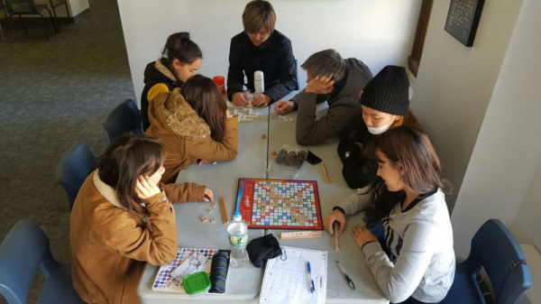 students play scrabble with me