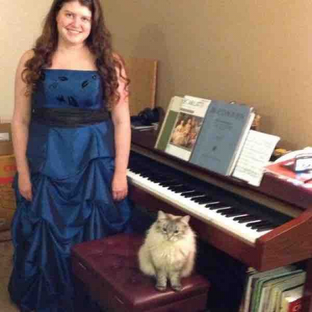 Night of my piano recital, gorgeous kitty Belle was always there to listen