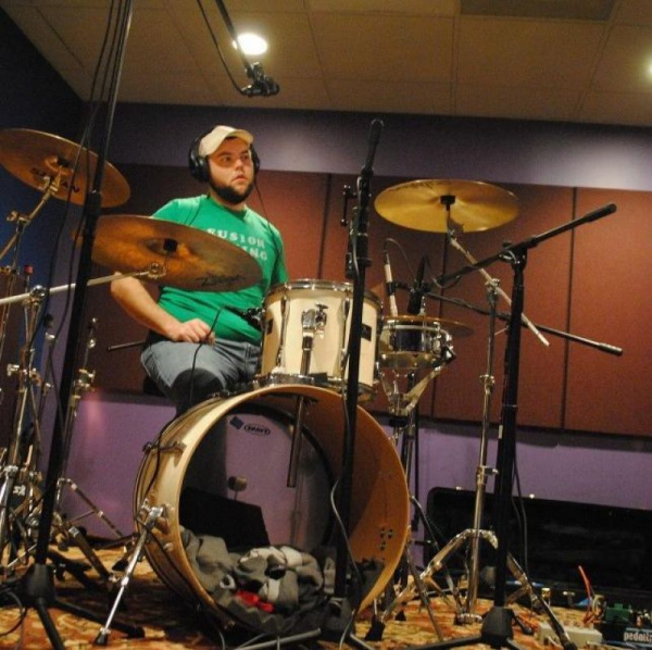 Laying down drum tracks for my funk project, Mopbucket!