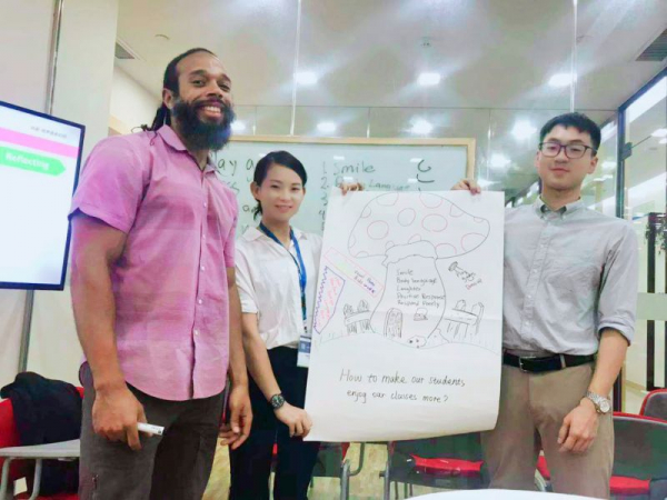 Reviewing a new English language learning technique with my Chinese colleagues.
