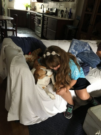 My little Maddie loves children! (after a piano lesson)