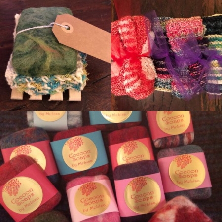 Felted soaps and hand knit wash clothes.