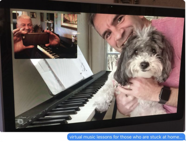 Greg and his dog Oso love their virtual Piano Lessons