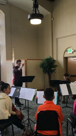 Teaching a chamber music ensemble at the Pascale Music Institute.
