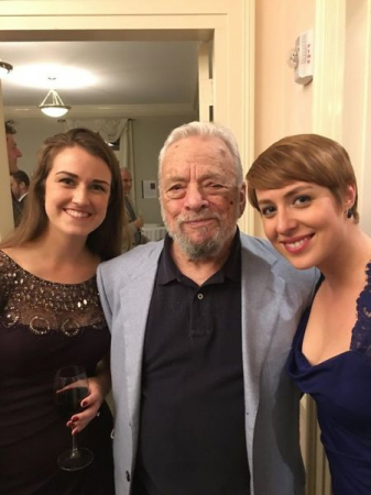 "Posing with Mr. Stephen Sondheim himself after performing ""Sondheim on Sondheim"", the musical about his life and career, in 2017."