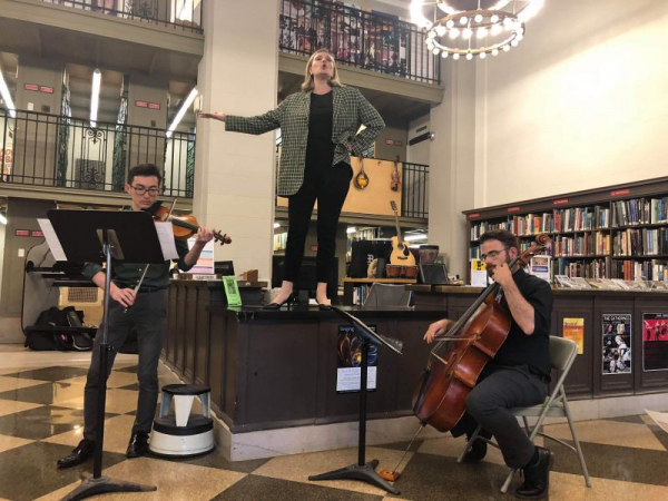 Performing at the Free Library of Philadelphia, Parkway Central Library.