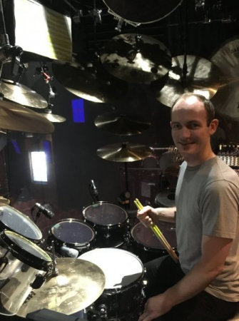 Behind the drums at Blue Man Group (sans makeup and stage lighting).