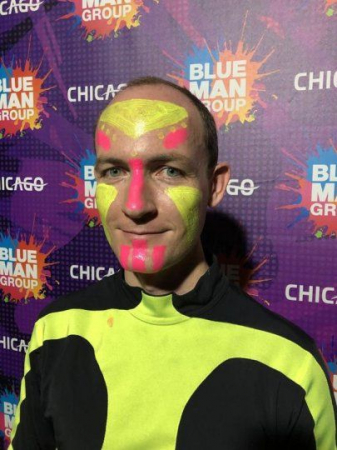 A press photo for a 2019 story in the DeKalb Daily Chronicle about me being hired to play drums with Blue Man Group.