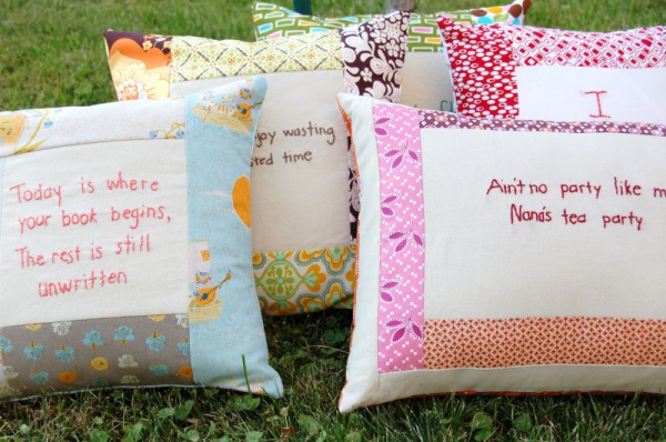 Embroider Your Message on a Pillow