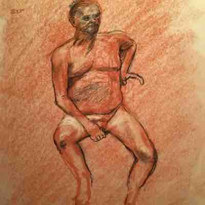 Life drawing of the figure in charcoal and chalk