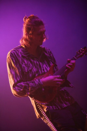 Playing electric mandolin at the Georgia Theatre
