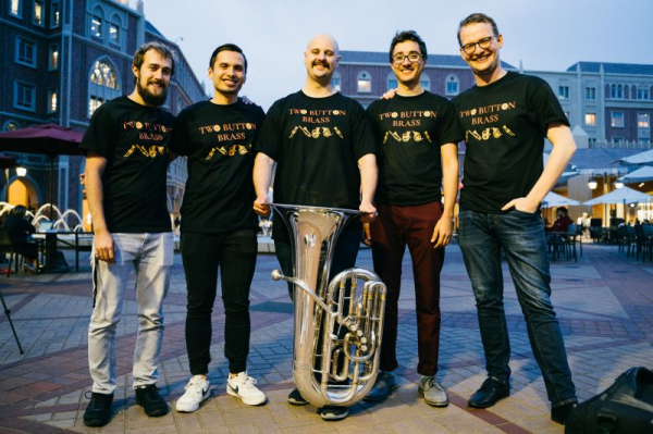 Me with my brass quintet, Two Button Brass!