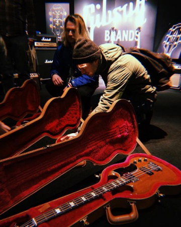 In Japan at the Gibson showroom getting our guitars Gibson generously provided us.