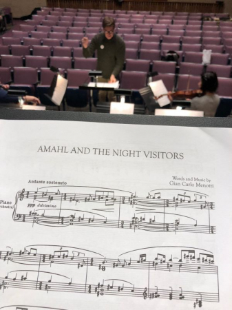 "Rehearsal for ""Amahl and the Night Visitors"" with the orchestra"