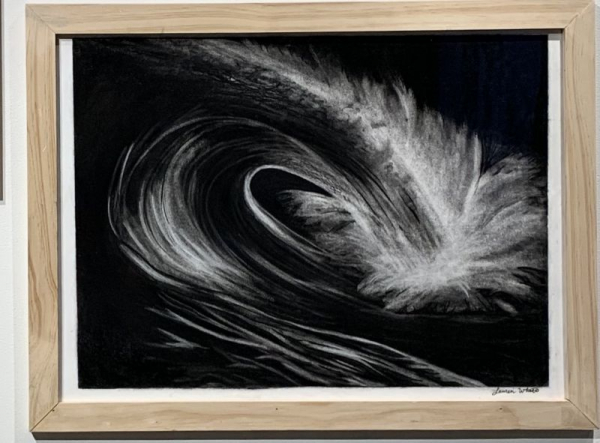 Reductive Charcoal Drawing- Crashing Wave