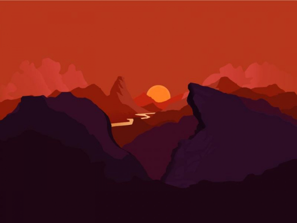 Illustrator - Mountain Sunset