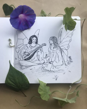 Fairies! Featuring homegrown morning glory.