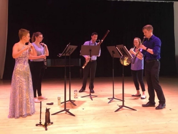 Performing Hindemith's Kleine Kammermusik with woodwind quintet at the Boston Conservatory.