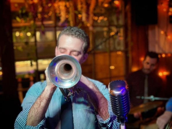Leading my band at the Hofbrau Haus in New York City, January of 2020.