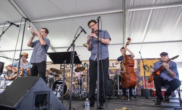 Leading my band at the New Orleans Jazz and Heritage Festival in 2019