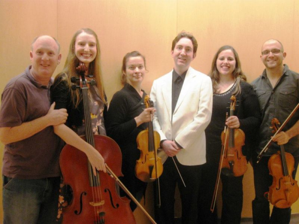 With Tetra String Quartet after a recording session at MIM (Music Instrument Museum) in 2011