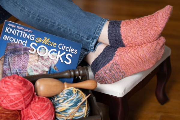 In the Diagional socks from Knitting More Circles Around Socks, by Antje Gillingham. Knit by Dawn M. Zillich, photo by José M. Zillich.