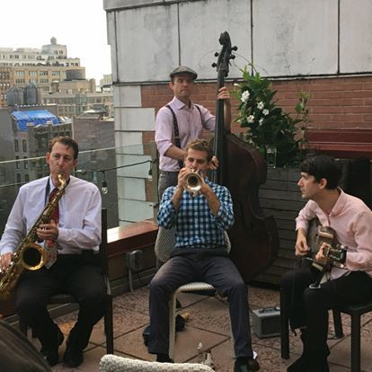Leading my band at the Cambria Hotel Chelsea in New York City, August 2018.