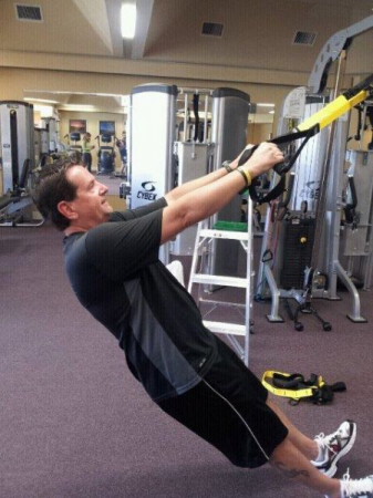 TRX 45 degree body weight pull ups, back & chest day.