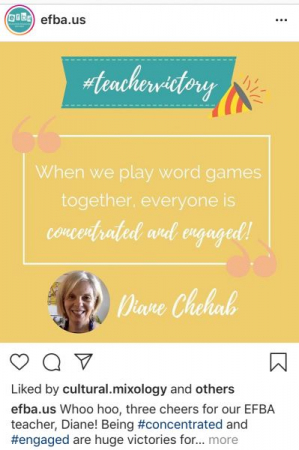 @efba.us Instagram post promoting teachers' efforts.