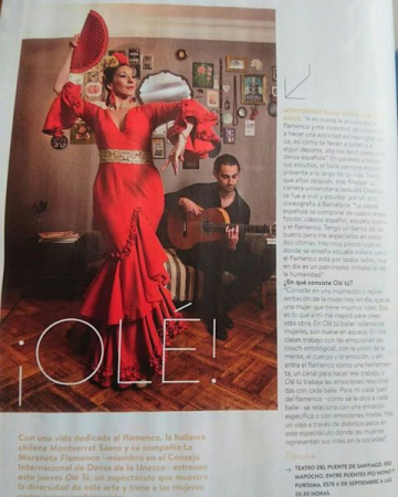 """Article in magazine for upcoming performance """"Ole,"""" Santiago, Chile. 2018."""