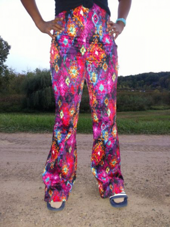 Flashy, funky pants made by an online sewing student.