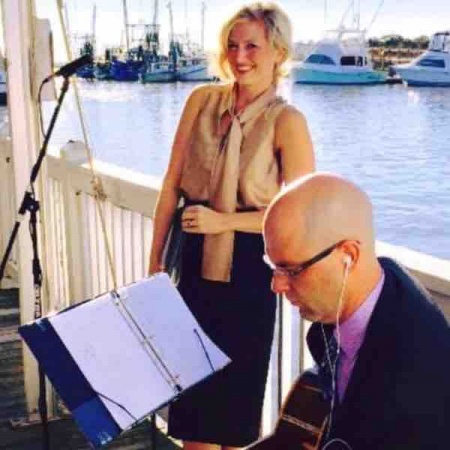 Getting ready to sing Somewhere Over the Rainbow for a beautiful waterfront Charleston wedding ceremony 💒
