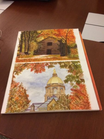 A couple of my favorite watercolors, highlighting Notre Dame's campus!