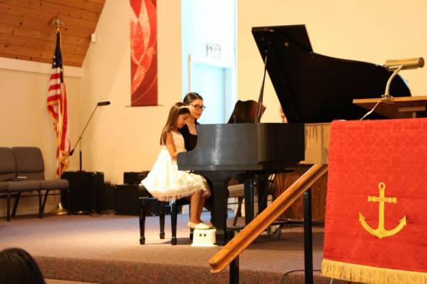 playing duet with student