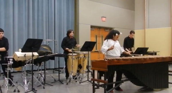 Performing a percussion piece