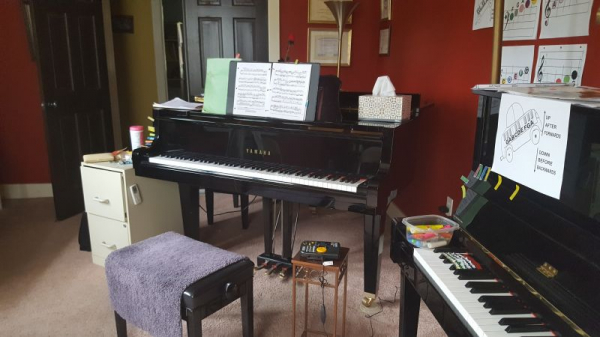Yamaha Grand Piano is where I teach on line.  Private room, no disruptions.