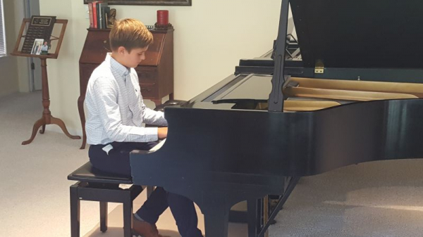 My student warming up for Guild performance.