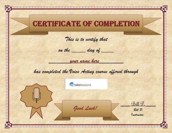 Let us inscribe your name on this Certificate Of Completion!