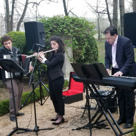 Group performance for a French themed party