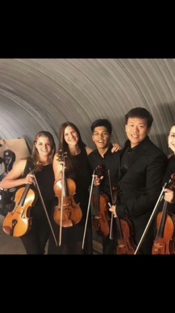 Me and my viola section after a successful concert at Aspen!